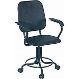 Кресло лабораторное КрЛ (винтовой механизм, высота 470-570 мм, с подлокотниками, с кольцом, на роликах)