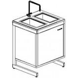 Стол-мойка двойная разборно-металлическая 800 СМДн.быт-У (нерж. сталь, гл 140 мм.)