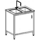 Стол-мойка двойная цельно-металлическая 800 СМДн.быт-М (нерж. сталь, гл 140 мм.)