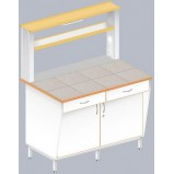 Стол пристенный физический с закрытой тумбой ЛАБ-1200 ПКТ (Керам. плитка)