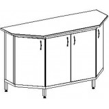 Стол-тумба торцевая к островному столу, трапециевидная, 4 дверки 1500 СТТп.трпц. (пластик)