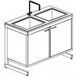 Стол-мойка двойная разборно-металлическая 1200 СМДн.быт.-У (нерж. сталь, гл 140 мм.)