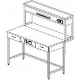 Стол пристенный физический с ящиками и розетками 1500 СПФл-М (ламинат)