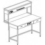 Стол пристенный физический с ящиками и розетками 1200 СПФп-М (пластик)