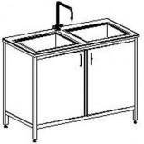 Стол-мойка двойная цельно-металлическая 1200 СМДн-М (нерж. сталь, гл 250-300 мм.)