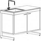 Стол-мойка одинарная разборно-металлическая 1200 СМОд-У (Durcon, гл 280 мм.)