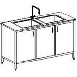 Стол-мойка двойная цельно-металлическая 1500 СМДн-М (нерж. сталь, гл 250-300 мм.)