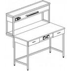 Стол пристенный физический с ящиками и розетками 1200 СПФкб-М (Монол. керамика с борт.)