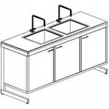 Стол-мойка двойная разборно-металлическая 1500 СМДд-У (Durcon, гл 280 мм.)